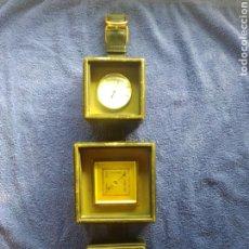 Relojes de pared: TERMOMETRO, BARÓMETRO E HIGROMETRO ALEMAN SOBRE MADERA CON FORMA DE CINTURON EN PIEL.. Lote 178912201