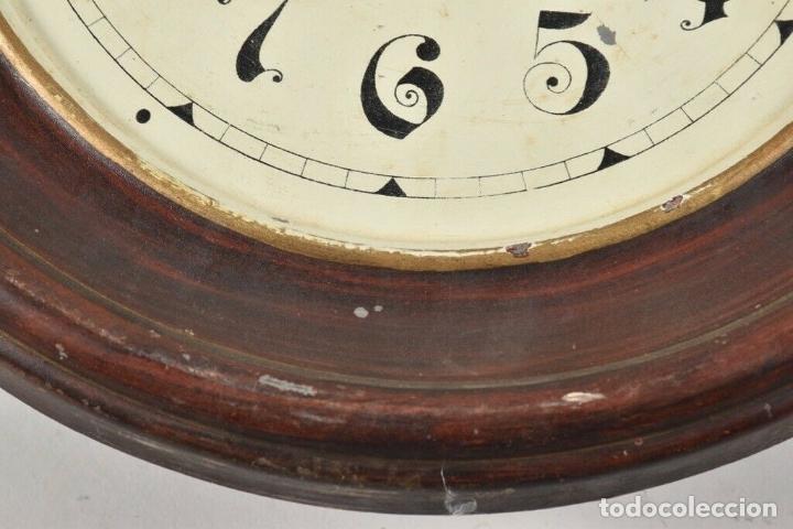 Relojes de pared: ANTIGUO RELOJ OJO DE BUEY Pp. XIX CHAPA PENDULO RAREZA FUNCIONANDO FABRICADO ALEMANIA 30 CM DIAMETRO - Foto 8 - 179208700