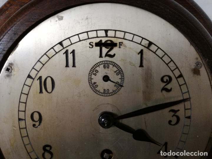 Relojes de pared: ANTIGUO RELOJ DE PARED INGLES - TIPO BARCO OJO DE BUEY REDONDO - CON LLAVE (FUNCIONANDO) - Foto 3 - 179539361