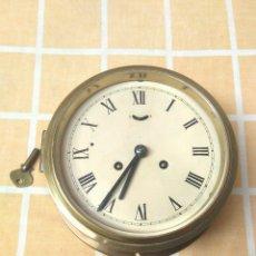 Relojes de pared: RELOJ TIPO BARCO PRINCIPIOS SIGLO XIX MAQUINA JUNGHANS Y DESPERTADOR OJO BUEY DE LATON.FUNCIONA BIEN. Lote 180009745