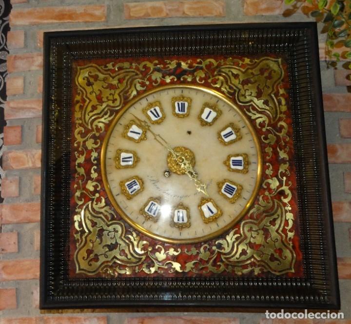 Relojes de pared: RELOJ NAPOLEÓN III BULLE SIGLO XIX INCRUSTACIONES DE NACAR Y BRONCES AL FUEGO DORADO. - Foto 3 - 180017312