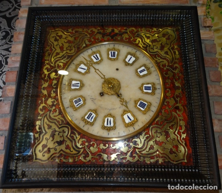 RELOJ NAPOLEÓN III BULLE SIGLO XIX INCRUSTACIONES DE NACAR Y BRONCES AL FUEGO DORADO. (Relojes - Pared Carga Manual)