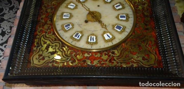 Relojes de pared: RELOJ NAPOLEÓN III BULLE SIGLO XIX INCRUSTACIONES DE NACAR Y BRONCES AL FUEGO DORADO. - Foto 10 - 180017312