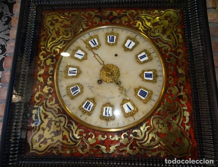 Relojes de pared: RELOJ NAPOLEÓN III BULLE SIGLO XIX INCRUSTACIONES DE NACAR Y BRONCES AL FUEGO DORADO. - Foto 11 - 180017312