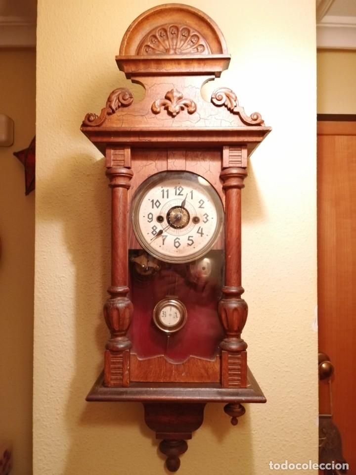 Relojes de pared: ANTIGUO RELOJ DE PARED CON ALARMA-DESPERTADOR. MECÁNICO Y FUNCIONANDO. - Foto 2 - 180139091