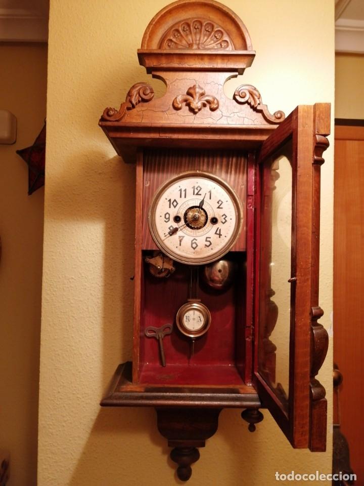 Relojes de pared: ANTIGUO RELOJ DE PARED CON ALARMA-DESPERTADOR. MECÁNICO Y FUNCIONANDO. - Foto 7 - 180139091
