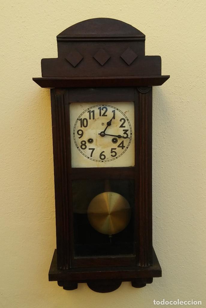 MAGNÍFICO RELOJ DE PARED ALEMAN DE CARGA MANUAL JUNGHANS, SIGLO XIX, TODO ORIGINAL. FUNCIONANDO (Relojes - Pared Carga Manual)
