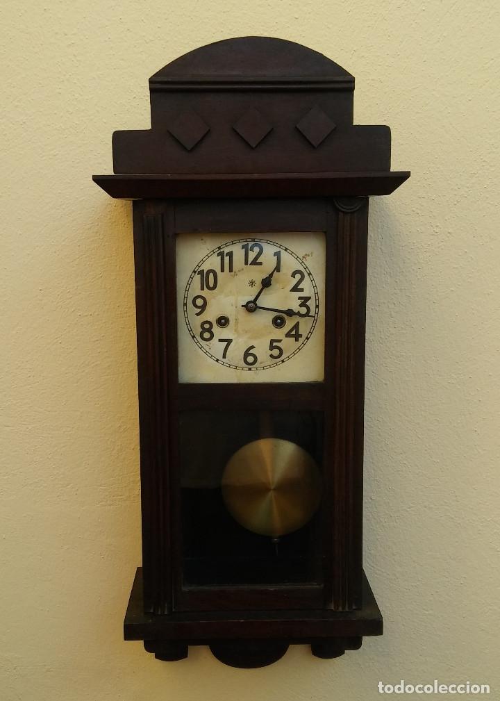 Relojes de pared: MAGNÍFICO RELOJ DE PARED ALEMAN DE CARGA MANUAL JUNGHANS, SIGLO XIX, TODO ORIGINAL. FUNCIONANDO - Foto 2 - 180909451