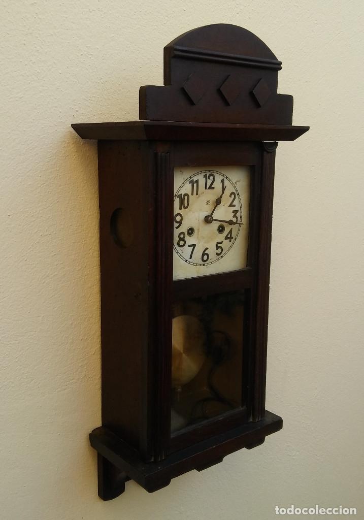Relojes de pared: MAGNÍFICO RELOJ DE PARED ALEMAN DE CARGA MANUAL JUNGHANS, SIGLO XIX, TODO ORIGINAL. FUNCIONANDO - Foto 3 - 180909451