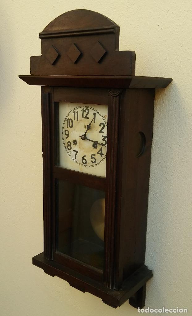 Relojes de pared: MAGNÍFICO RELOJ DE PARED ALEMAN DE CARGA MANUAL JUNGHANS, SIGLO XIX, TODO ORIGINAL. FUNCIONANDO - Foto 4 - 180909451