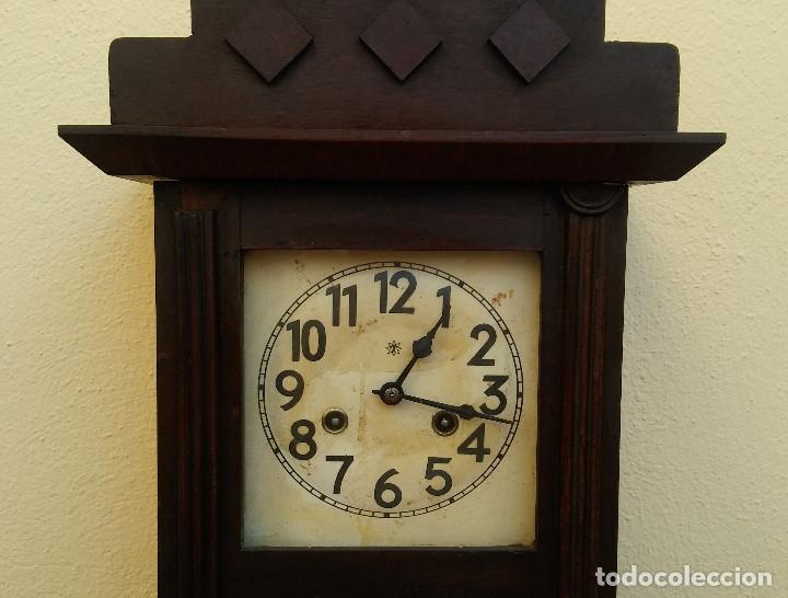 Relojes de pared: MAGNÍFICO RELOJ DE PARED ALEMAN DE CARGA MANUAL JUNGHANS, SIGLO XIX, TODO ORIGINAL. FUNCIONANDO - Foto 6 - 180909451