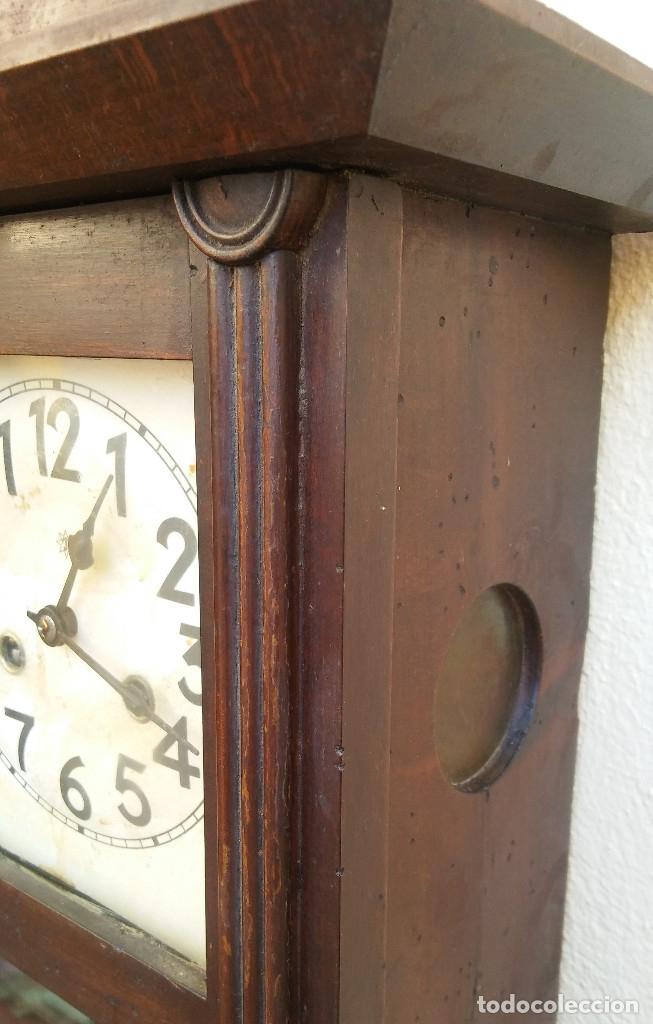 Relojes de pared: MAGNÍFICO RELOJ DE PARED ALEMAN DE CARGA MANUAL JUNGHANS, SIGLO XIX, TODO ORIGINAL. FUNCIONANDO - Foto 10 - 180909451