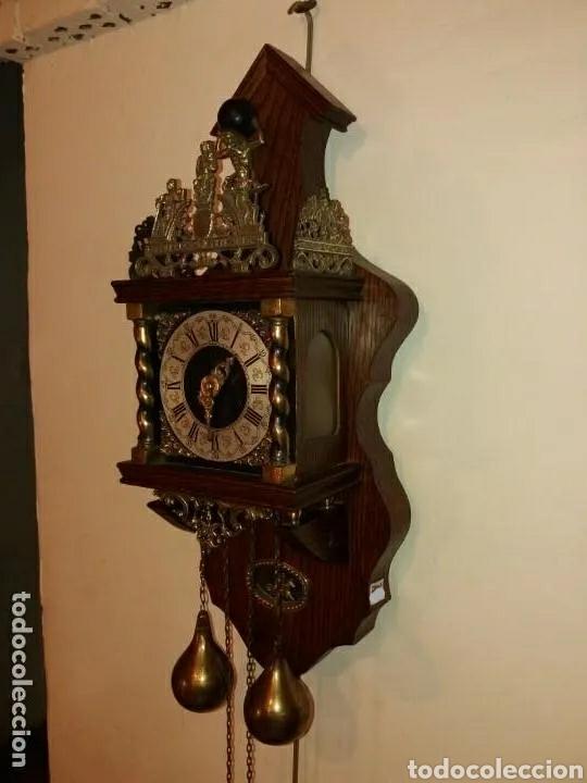 Relojes de pared: Reloj Alemán, aprox año 1850 madera y bronces - Foto 2 - 180944385