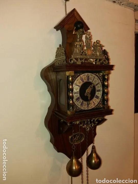 Relojes de pared: Reloj Alemán, aprox año 1850 madera y bronces - Foto 3 - 180944385