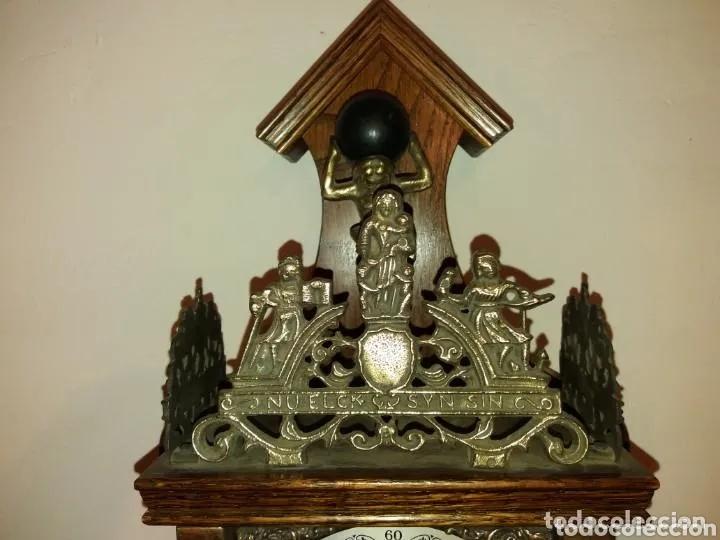 Relojes de pared: Reloj Alemán, aprox año 1850 madera y bronces - Foto 4 - 180944385