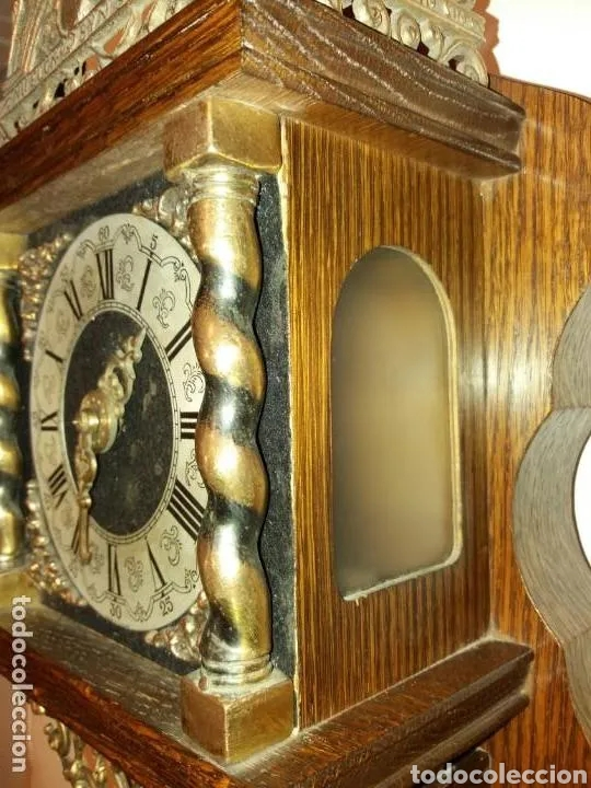 Relojes de pared: Reloj Alemán, aprox año 1850 madera y bronces - Foto 8 - 180944385