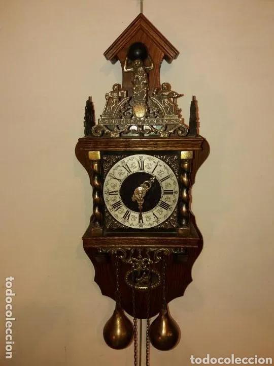 RELOJ ALEMÁN, APROX AÑO 1850 MADERA Y BRONCES (Relojes - Pared Carga Manual)