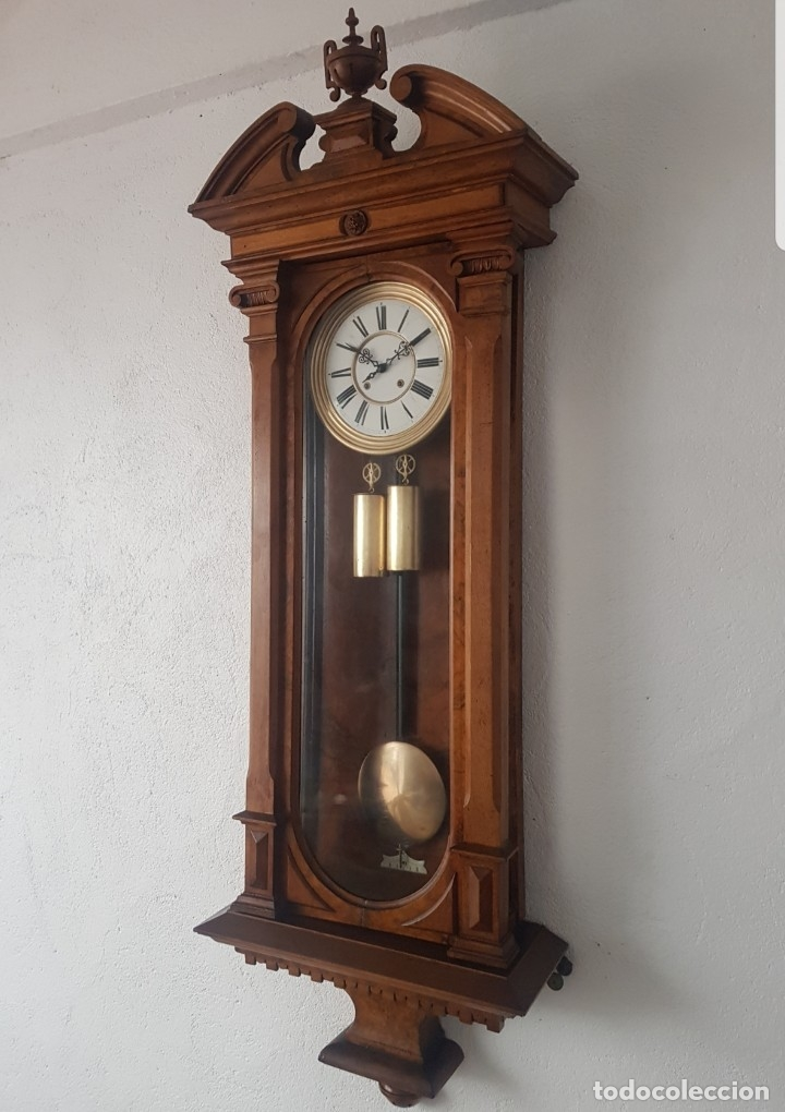 RELOJ REGULADOR VIENES GUSTAV BECQUER PRIMERA ÉPOCA GOLIAT MIDE 152M DETALLES RAÍZ OLIVO FUNCIONA (Relojes - Pared Carga Manual)