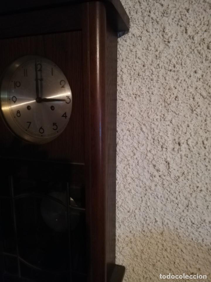 Relojes de pared: Reloj de pared Frans Hermle Madera de roble mediados del siglo xx Soneria , horas y medias con aviso - Foto 8 - 187589336