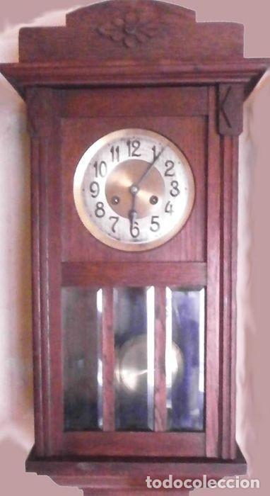 RELOJ DE PARED MECÁNICO FRIEDRICH MAUTHE MADERA DE ROBLE PRINCIPIOS DEL SIGLO XX ART DÉCO (Relojes - Pared Carga Manual)