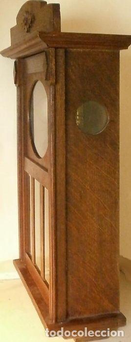 Relojes de pared: Reloj de pared mecánico Friedrich Mauthe madera de roble Principios del siglo XX Art Déco - Foto 5 - 187595718