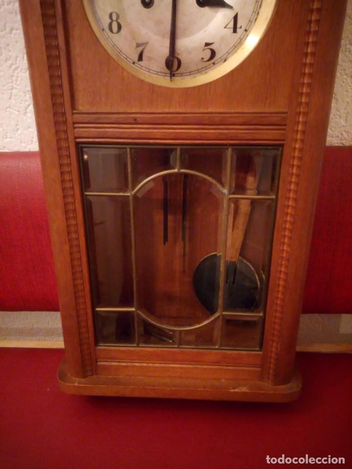 Relojes de pared: antiguo reloj carga manual fms alemania,funcionando con su llave original,puerta con vidriera - Foto 19 - 189141605