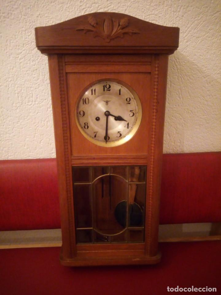 Relojes de pared: antiguo reloj carga manual fms alemania,funcionando con su llave original,puerta con vidriera - Foto 20 - 189141605