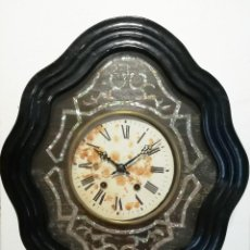 Relojes de pared: RELOJ PARED OJO DE BUEY NEGRO CON NACAR. Lote 189254095