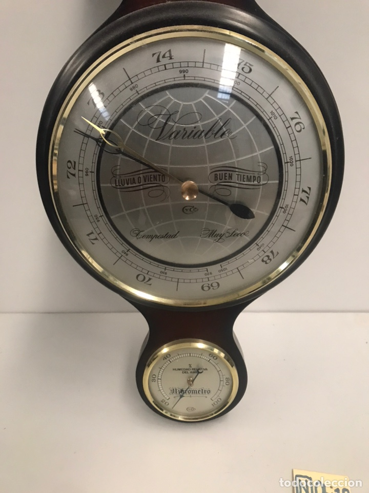 Relojes de pared: Antiguo reloj barómetro - Foto 2 - 189593758