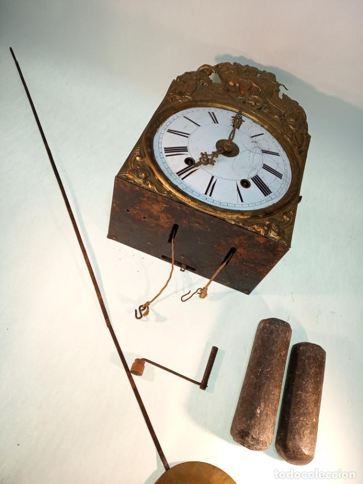 Relojes de pared: Reloj Morez de pared. Péndulo de tijera plegable y grandes pesas de plomo macizas, incluye llave. - Foto 7 - 190936223