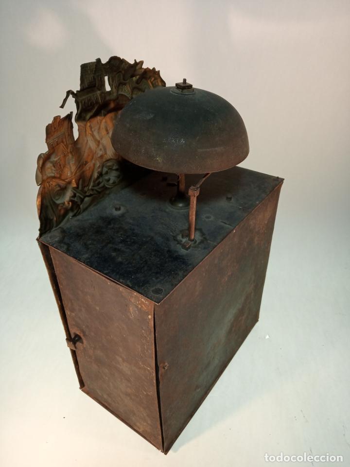 Relojes de pared: Reloj Morez de pared. Péndulo de tijera plegable y grandes pesas de plomo macizas, incluye llave. - Foto 12 - 190936223