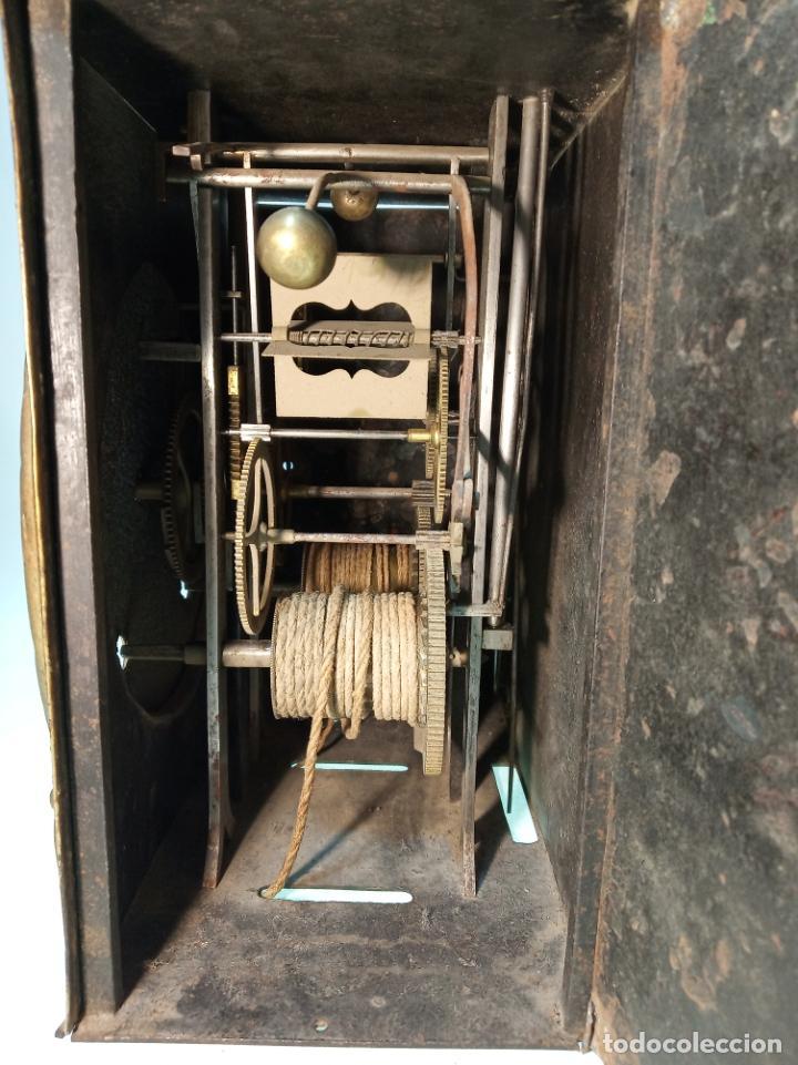 Relojes de pared: Reloj Morez de pared. Péndulo de tijera plegable y grandes pesas de plomo macizas, incluye llave. - Foto 13 - 190936223