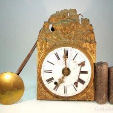 Relojes de pared: RELOJ MOREZ DE PARED. PÉNDULO DE TIJERA PLEGABLE Y GRANDES PESAS DE PLOMO MACIZAS, INCLUYE LLAVE.. Lote 190936223