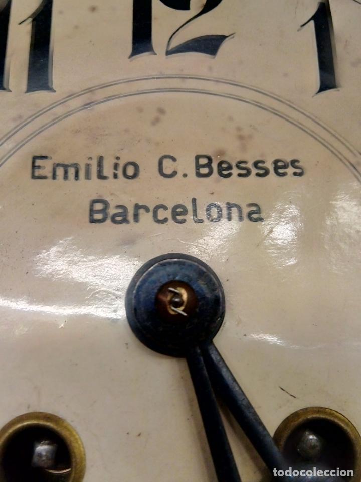 Relojes de pared: ANTIGUO RELOG DE PARED MARCA EMILIO C.BESSES BARCELONA PARA REPARAR - Foto 8 - 192354867