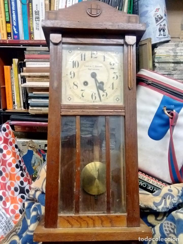 ANTIGUO RELOG DE PARED MARCA EMILIO C.BESSES BARCELONA PARA REPARAR (Relojes - Pared Carga Manual)