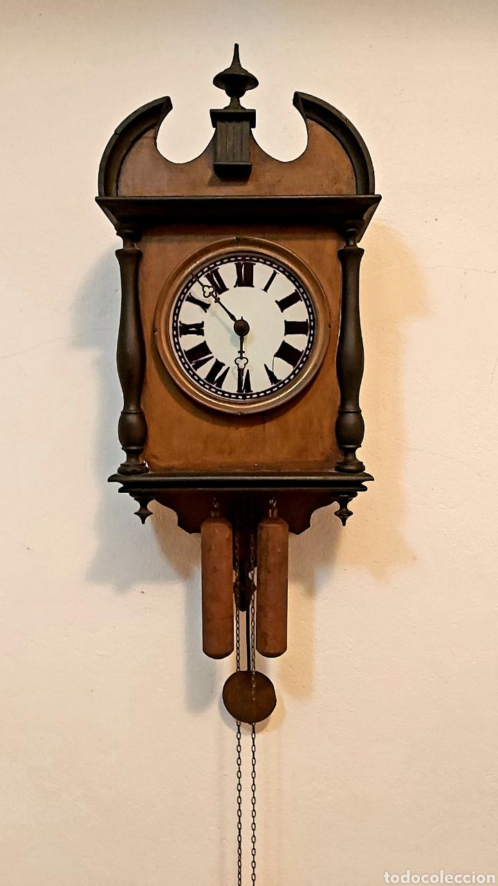 RELOJ DE PARED CON PÉNDULO S.XIX (Relojes - Pared Carga Manual)