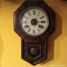 Relojes de pared: ANTIGUO Y PRECIOSO RELOJ DE PARED DE OFICINA O ESTACIÓN, MARCA ANSONIA DEL SIGLO XIX. Lote 193976622