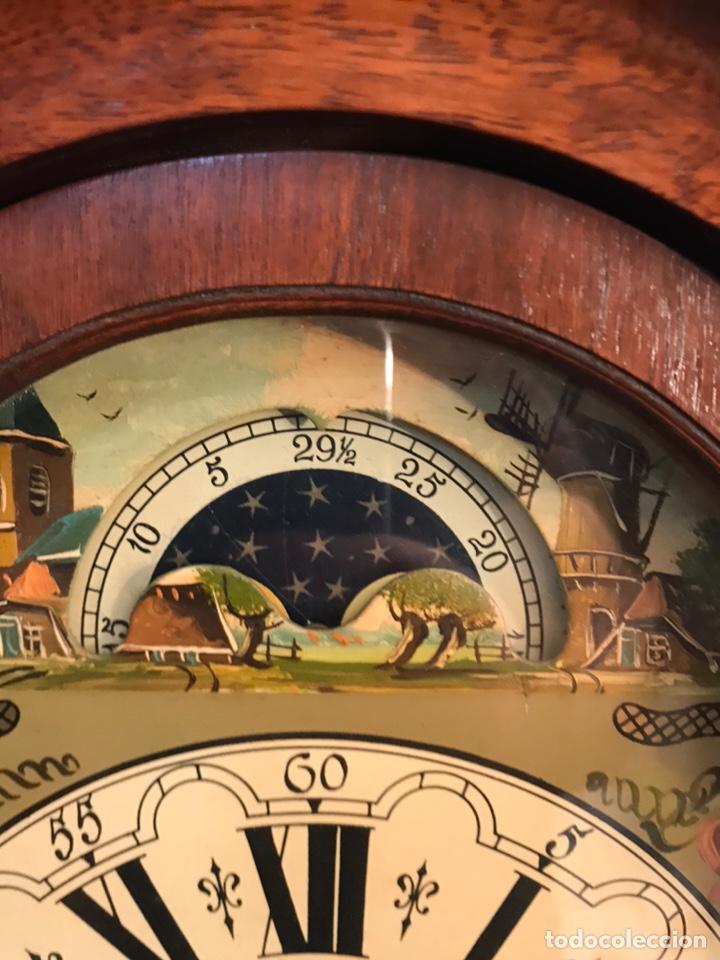 Relojes de pared: Raro reloj holandés Wuba con fases lunares y tres pesas. - Foto 3 - 194235171
