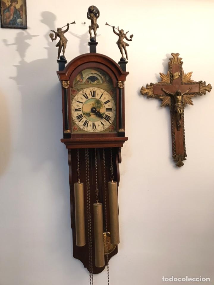 Relojes de pared: Raro reloj holandés Wuba con fases lunares y tres pesas. - Foto 4 - 194235171