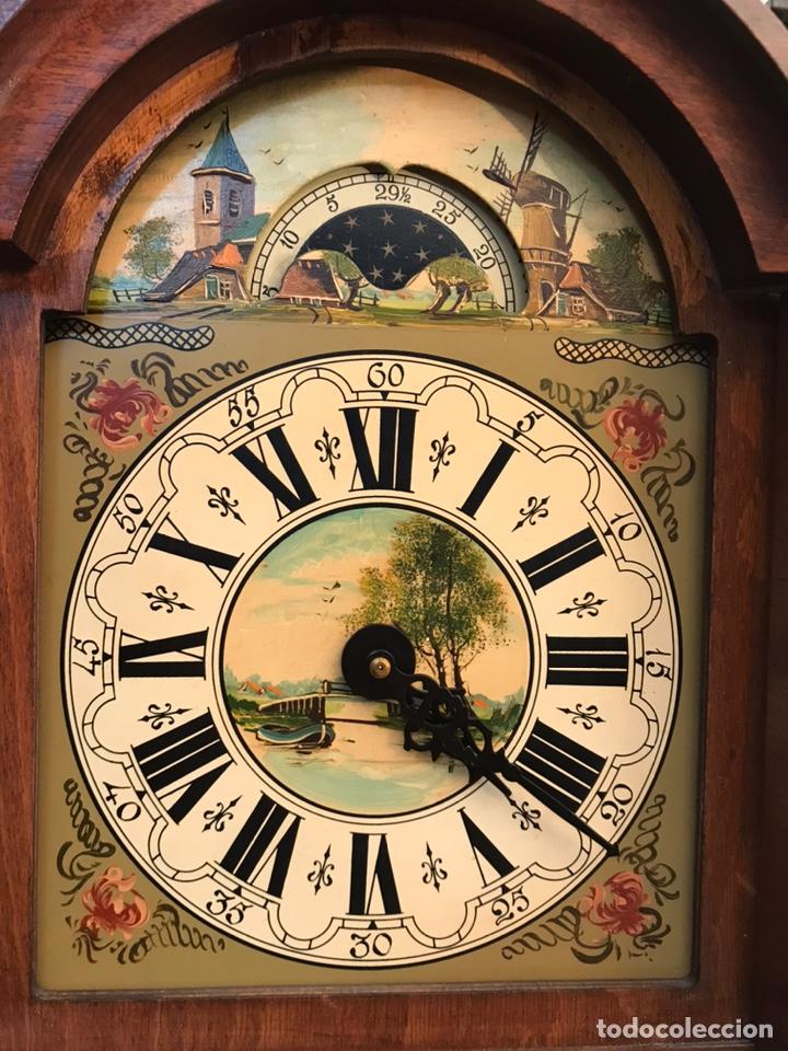 Relojes de pared: Raro reloj holandés Wuba con fases lunares y tres pesas. - Foto 5 - 194235171