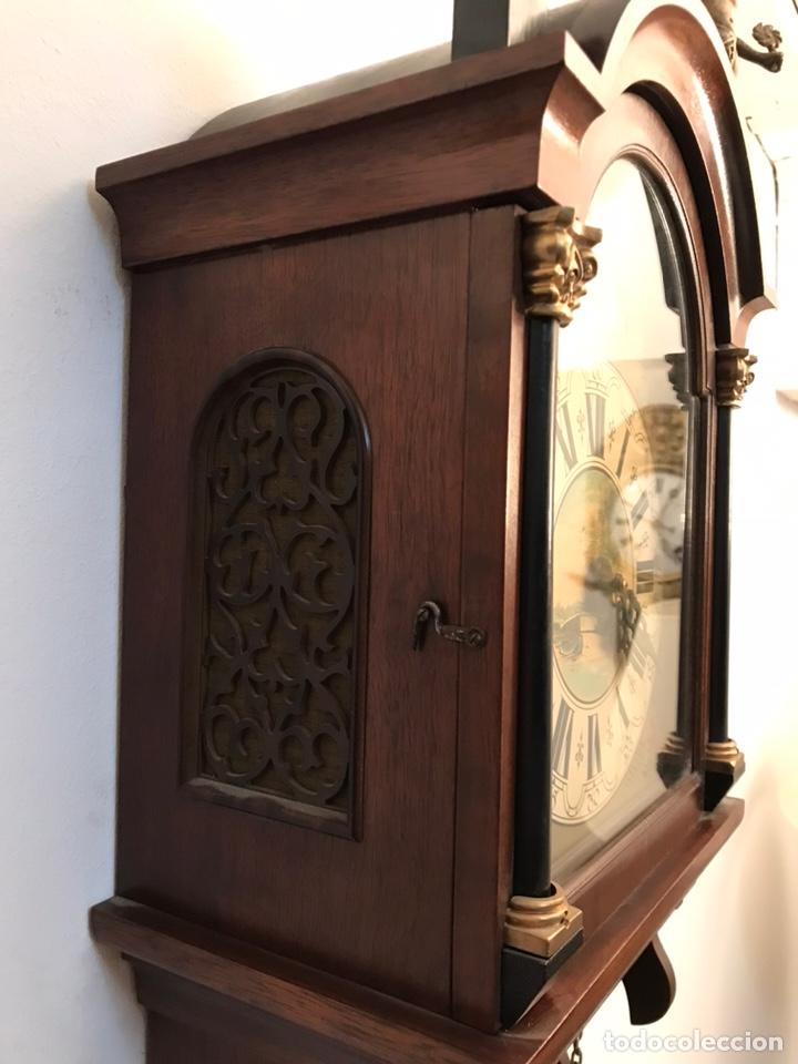 Relojes de pared: Raro reloj holandés Wuba con fases lunares y tres pesas. - Foto 8 - 194235171