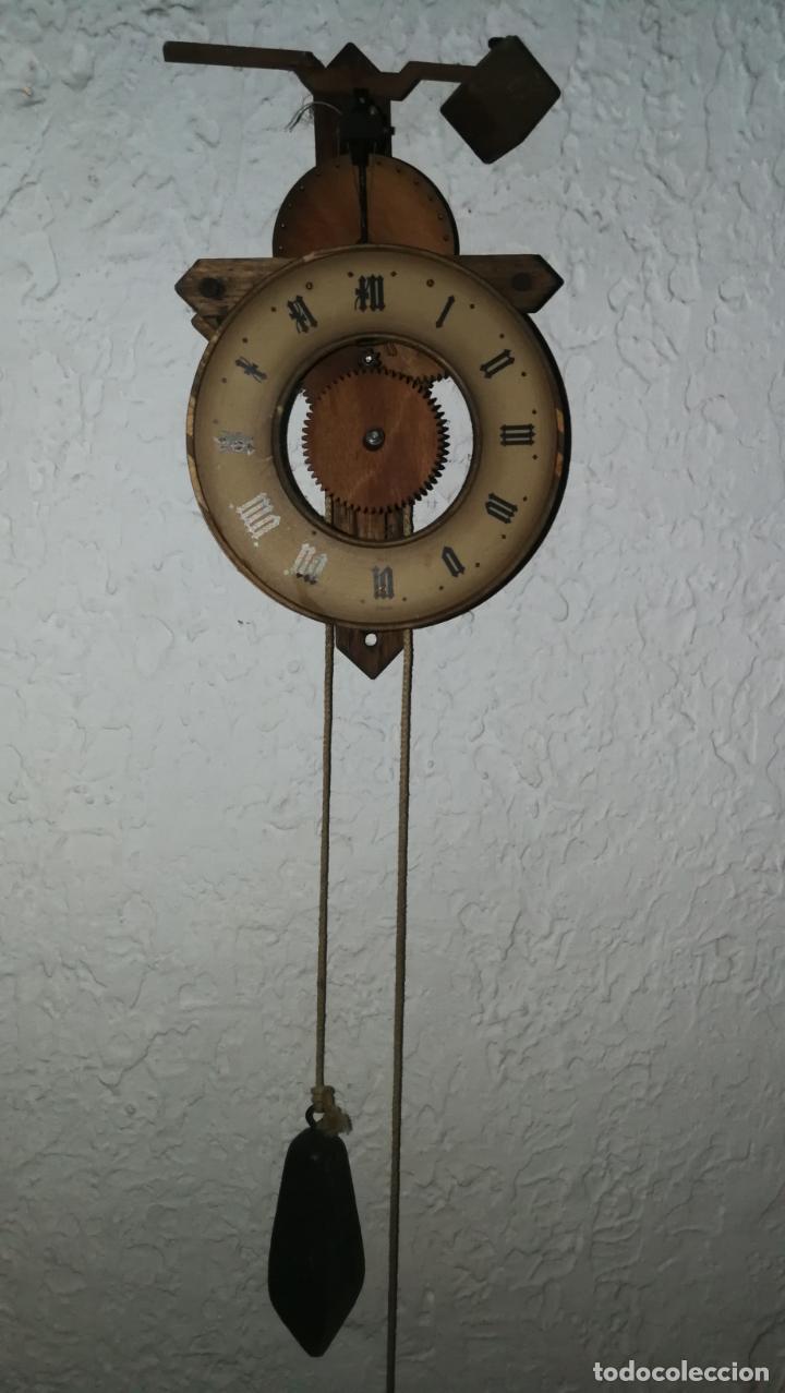 RELOJ DE MADERA PARA PIEZAS O RESTAURAR (Relojes - Pared Carga Manual)