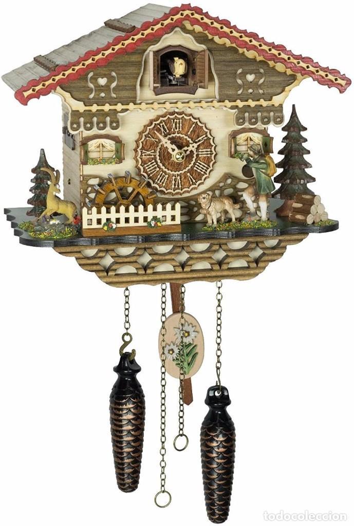 ORIGINAL SCHWARZWALD-KUCKUCKSUHR JÄGER BEWEGLICH,MÜHLENRAD DREHT-12 MELODIEN-CUCKOO CLOCK (Relojes - Pared Carga Manual)
