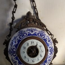 Relojes de pared: IMPRESIONANTE RARÍSIMO RELOJ DE PARED BRONCE Y PORCELANA ESMALTADA ESCAPE VISTO SIGLO XIX O ANTERIOR. Lote 194635295