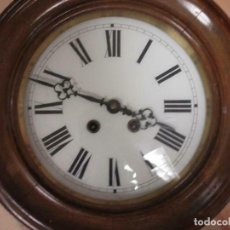 Relojes de pared: MARAVILLOSO RELOJ EN MADERA OJO DE BUEY 36 CM DIAMETRO PÉNDULO Y SONERÍA SIGLO XIX. Lote 194646390