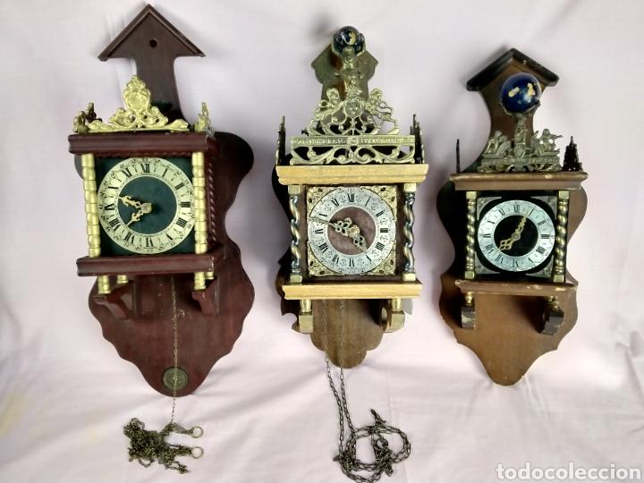 LOTE DE 3 ANTIGUOS RELOJES HOLANDÉS (Relojes - Pared Carga Manual)