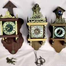 Relojes de pared: LOTE DE 3 ANTIGUOS RELOJES HOLANDÉS. Lote 194927072