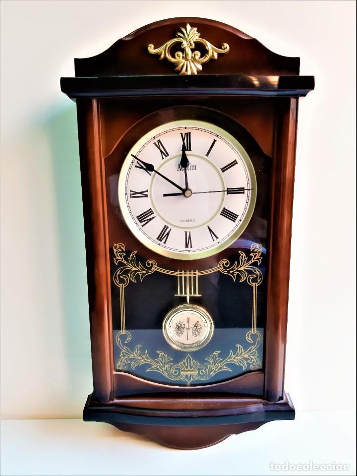 INCREIBLE RELOJ PARED DOS MOTORES DE PENDULO - 51.CM ALTO TODO DE PASTA CON CRISTAL (Relojes - Pared Carga Manual)