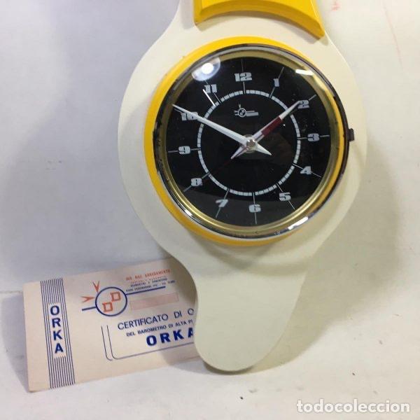 Relojes de pared: Reloj termómetro higrómetro ORKA Giallo By Domenico e Domeniconi Italia 1973 65 cm - LA OPALINA - Foto 2 - 170481974