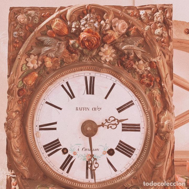 Relojes de pared: INCREÍBLE RELOJ FLORAL POLICROMADO FRANCÉS ANTIQUE UNIQUE - Foto 2 - 162953294